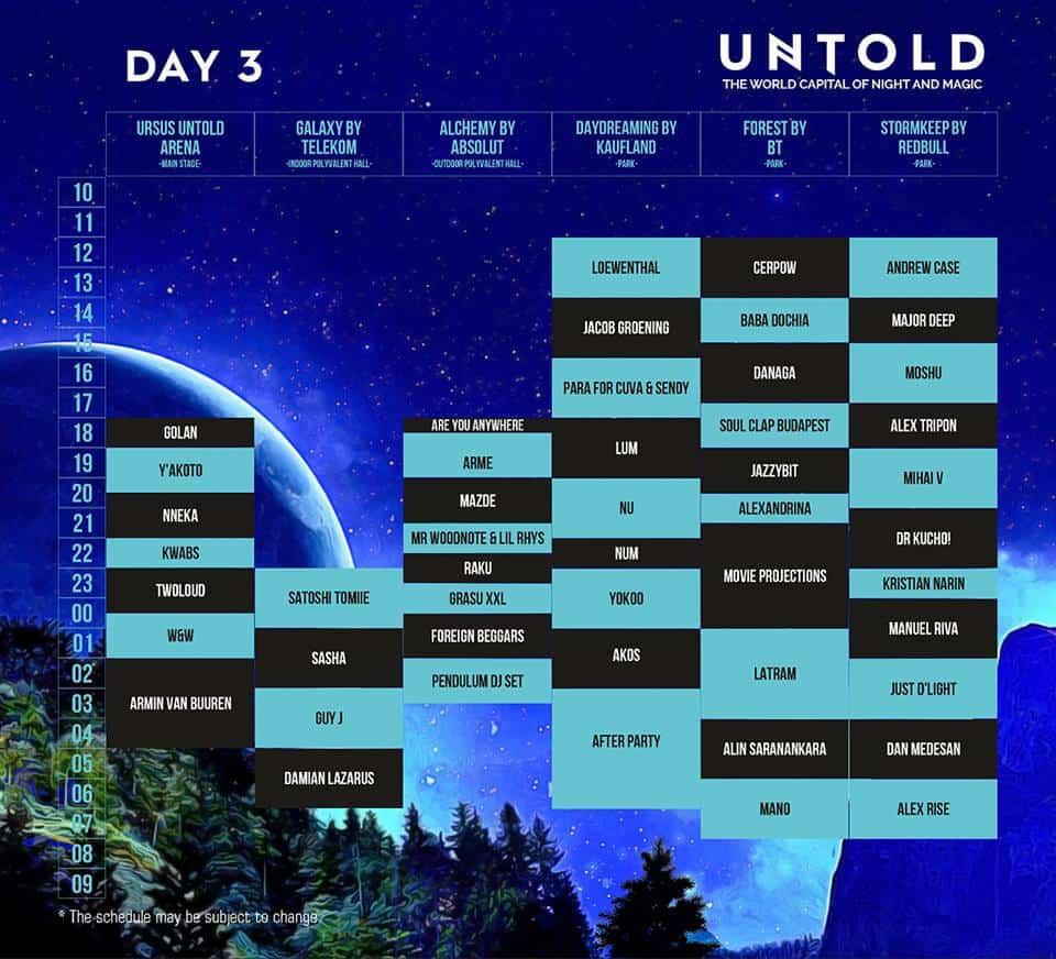 Untold - program ziua 2